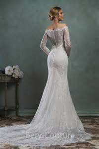 the shoulder wedding dress with lace sleeves classic mermaid the shoulder vintage lace sleeve wedding dress