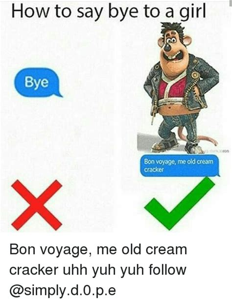 How To Say Meme - how to say bye to a girl bye bon voyage me old cream cracker bon voyage me old cream cracker uhh