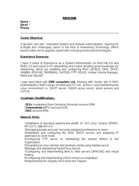 linux resume resume ideas