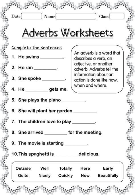 adverbs worksheets  grade   home teacher