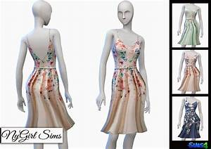 NyGirl Sims 4: LC Floral Fit and Flare Spring Dress