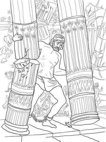 samson pushing  pillars coloring page supercoloringcom
