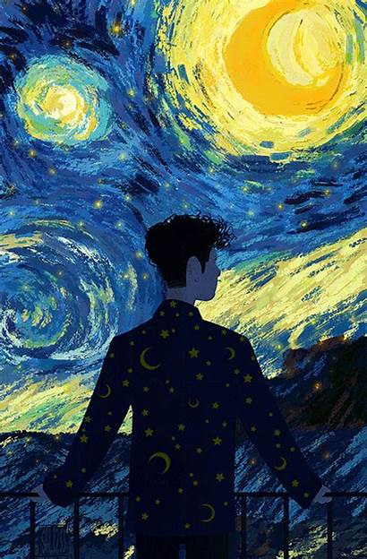 Half Gogh Moon Starry Night Vincent Stars