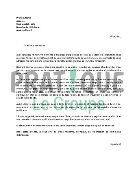 lettre de motivation cadre infirmier lettre de motivation pour un emploi de cadre de laboratoire confirm 233 pratique fr