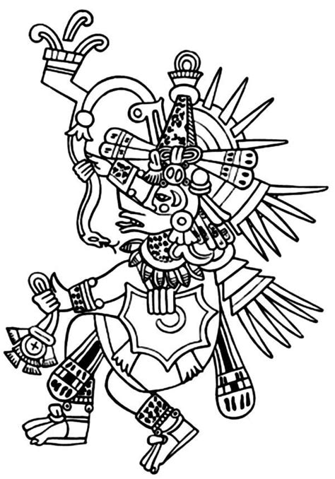 Aztec Tlaloc Coloring Pages | Dioses aztecas, Imperio