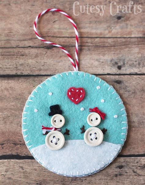 Button And Felt Diy Christmas Ornaments  Cutesy Crafts