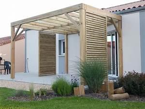 Pergola bois terrasse bois berriau menuiserie for Pergola terrasse