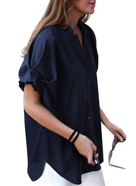 Fashion Loose Navy Short Sleeve Lace Up V Neck Women