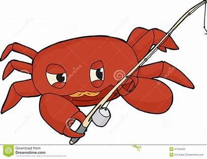 Crab Clipart Fishing Fisherman Pole Clip Cartoon
