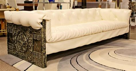 white vinyl sectional sofa mid century modern adrian pearsall brutalist sofa white