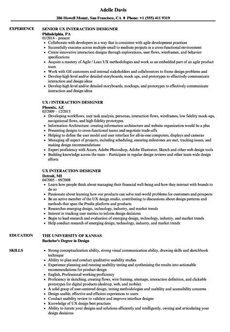 Interaction Designer Resume by Ux Interaction Designer Resume Sles Velvet