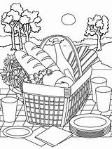 Coloring Summer Picnic Printable Basket Parents Fruit Printables sketch template