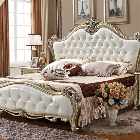 white ivory baroque upholstered antique french style bed