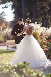 a blue white gold military wedding at duke university With military wedding dresses