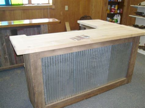shaped bar  metal front   reclaimed wood