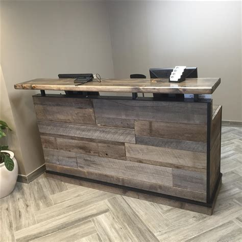 front desk reception furniture buy a hand crafted barn wood reception desk front