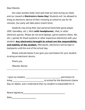 electronics day permission letter to parents by ms hawkins