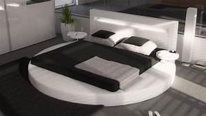 Lit 180x200 Blanc : lit led rond design 180x200 cm en simili cuir blanc uster gdegdesign ~ Teatrodelosmanantiales.com Idées de Décoration