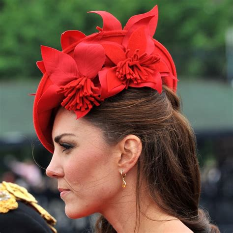 kate middletons red floral fascinator diamond jubilee hair makeup nails