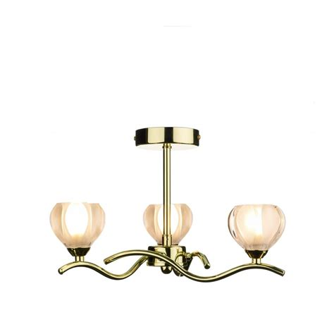 dar lighting cynthia cyn0340 polished brass 3 light semi