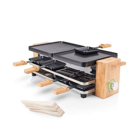 appareil cuisine conviviale appareil à raclette en bambou pour 8 personnes raclettes