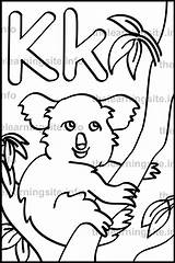 Letter Koala Outline Alphabet Coloring Sample Flashcard Learning sketch template