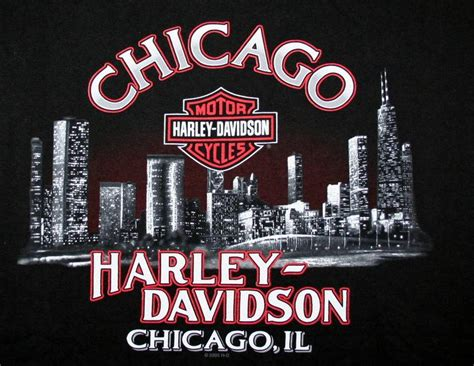 Harley Davidson Chicago Il Xl T Shirt Motorcycle Illinois
