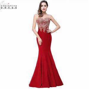 Robe de soiree longue sexy backless red mermaid lace for Robes soirée longue