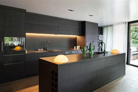 sleek black kitchen ideas  cabinets