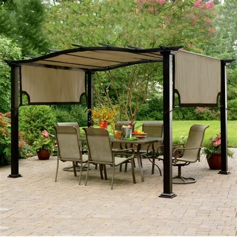 garden treasures pergola canopy garden treasures matte black steel freestanding pergola