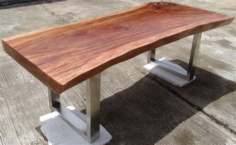 Reclaimed Solid Slab Acacia Wood Dining Table by Flowbkk   Contemporary   Dining Tables   other