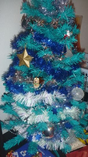 decoration sapin noel bleu et blanc