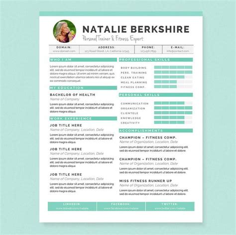 turquoise resume cover letter references template