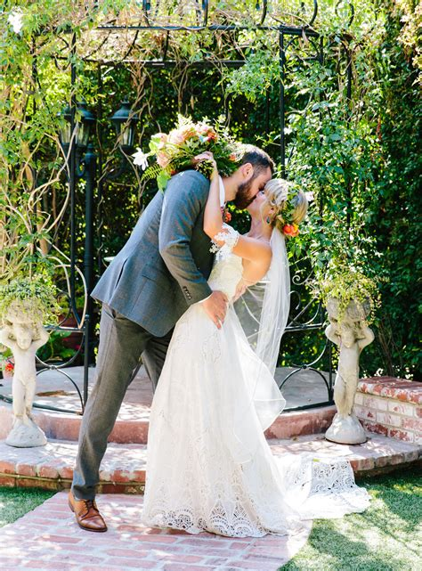 stylish bohemian backyard wedding candice joe green