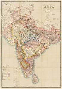 Road Railway Telegrahic Map Of India Shewing The Post
