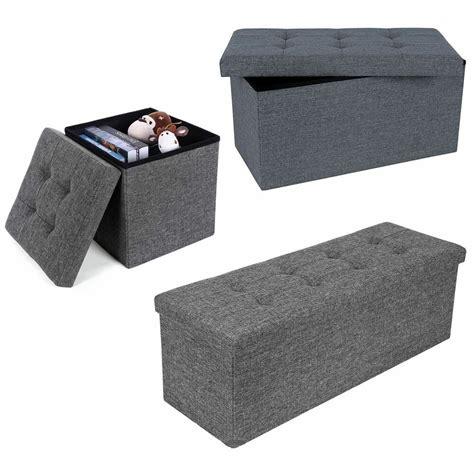 Padded Ottoman Storage Bench by Grey Linen Folding Storage Ottoman Padded Seat Stool Chest
