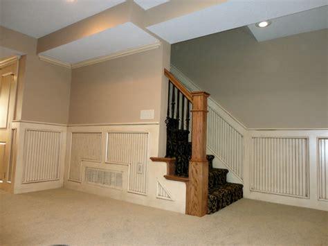 basement stairway  beadboard traditional staircase