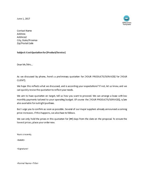 How To Write A Cover Letter For Sales by Sales Letter For A Cost Quotation Templates At