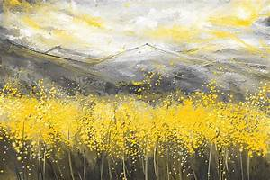 Neutral Sun - Yellow And Gray Art Painting by Lourry Legarde