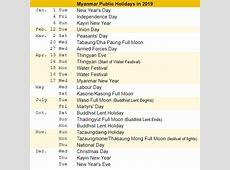 Free Myanmar calendar 2019 Samples PDF, Excel, Word