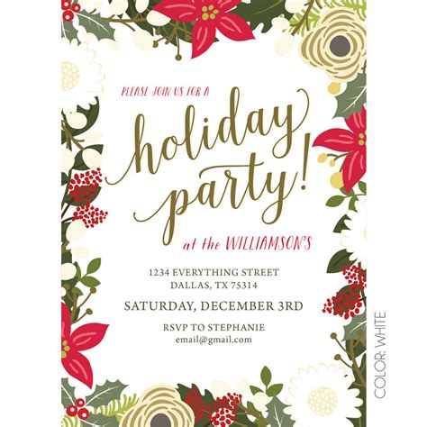 Floral Holiday Party Invitation KateOGroup