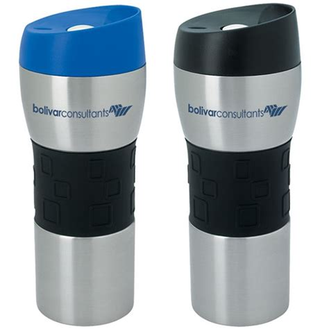 Stainless Tumbler With Grip  16 Oz