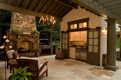 rustic outdoor kitchen porch traditional   burning