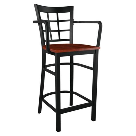 Stool With Arms Window Back Metal Bar Stool With Arms