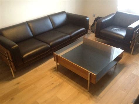 Habitat Days Forum Leather 3 Seat Sofa And Armchair Only