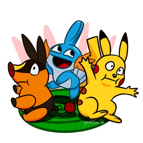 mudkip pikachu and tepig by geekfox on deviantart