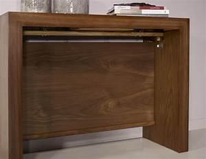 Console Bois Massif : console extensible en noyer contemporaine 4 allonges meuble en merisier massif ~ Teatrodelosmanantiales.com Idées de Décoration