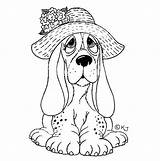 Coloring Pages Dog Hound Basset Sad Adult Cute Puppy Kleurplaten Print Colouring Animal Sheets Dibujos Perros Dogs Stamps Puppies Para sketch template
