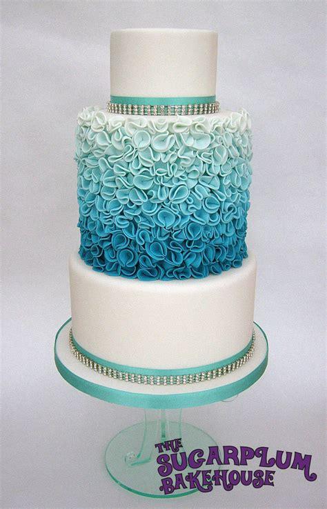 turquoise ombre ruffle wedding style cake cakecentralcom
