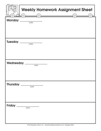 homework weekly template